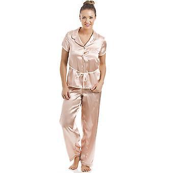 Camille Salmon Pink Short Sleeve Belted Satin Pyjama Set