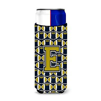 Letter E Football Blue and Gold Ultra Beverage Insulators for slim cans