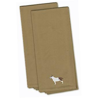 Bull Terrier Tan Embroidered Kitchen Towel Set of 2