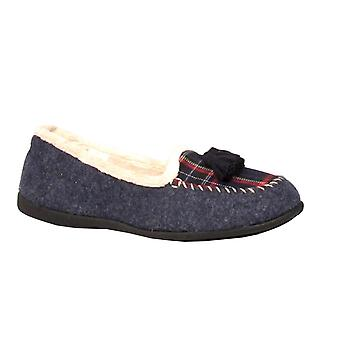 Padders Womens Slipper Tassel Navy