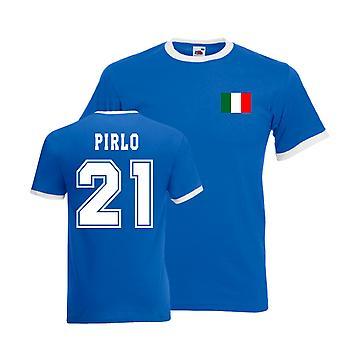 Andrea Pirlo Italia Ringer Tee (blå)
