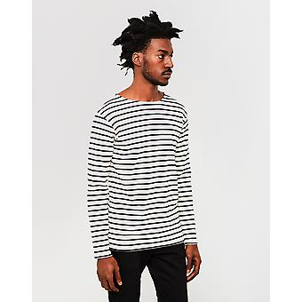 Armor Lux Classic Long Sleeve T-Shirt Off White & Navy