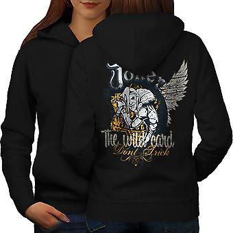 Laugh Card Gamble Women BlackHoodie Back | Wellcoda