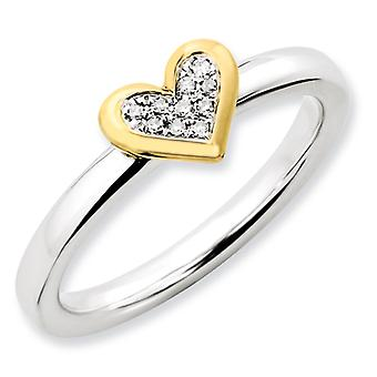 Sterling Silver Stackable Expressions Heart With Dia. and Vermeil Ring - Ring Size: 5 to 10