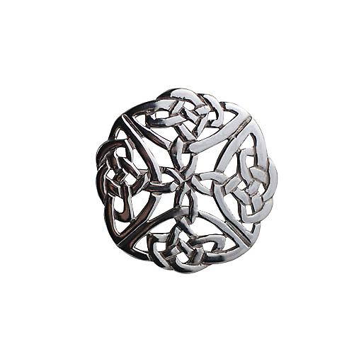 Silver 29mm round Celtic knot design Brooch