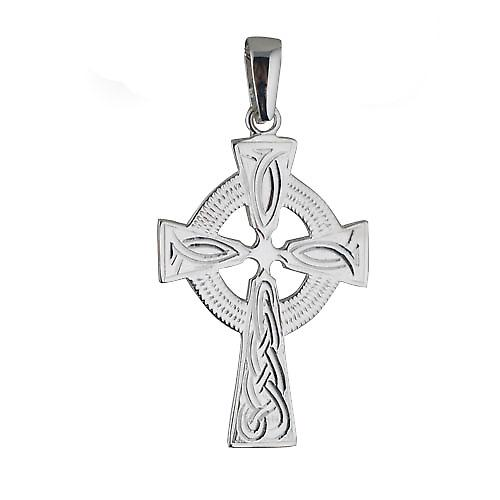 Silver 40x29mm hand engraved knot pattern Celtic Cross with bail