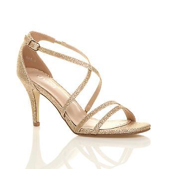 Ajvani dame midten af lav højhælede strappy crossover fest bryllup prom sandaler sko