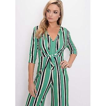 Stripe Tie Front Culotte Jumpsuit Green