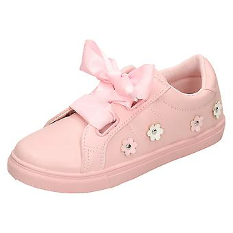 Girls Spot On Ribbon Lace Pumps H2464