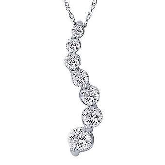 1 1 / 2ct Real Diamond resa hänge 14K vitt guld ny