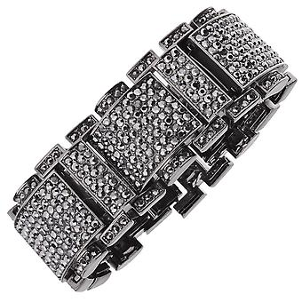 Iced out bling hip hop bracelet wristband - RICK ROSS black