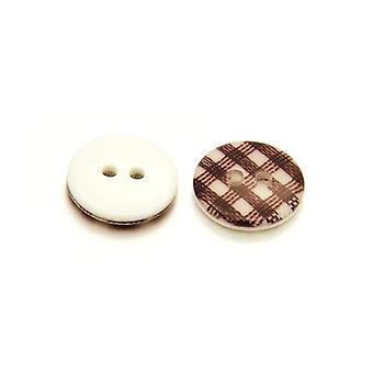 10 x Brown/White Resin 13mm Round 2-Holed Patterned Sew On Buttons HA14655