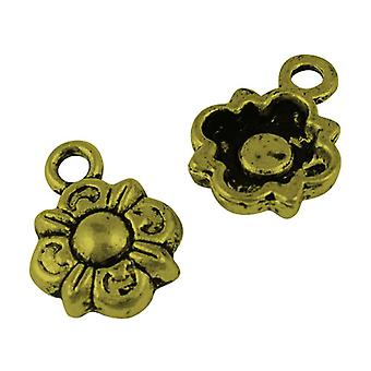 Packet 30 x Steampunk Antique Bronze Tibetan 14mm Flower Charm/Pendant ZX16520