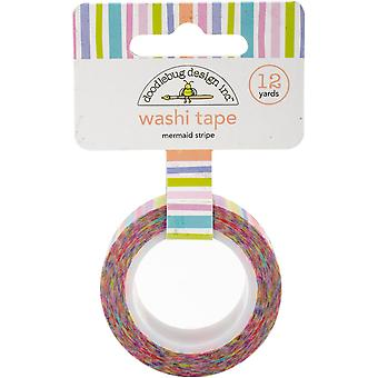 Doodlebug Washi Tape 15mmX12yd-Mermaid Stripe