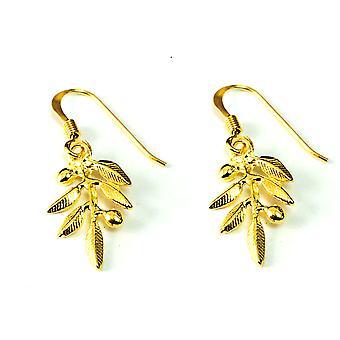 Sterling Silver 18 Karat Gold Overlay Plated Olive Leaf Drop Earrings