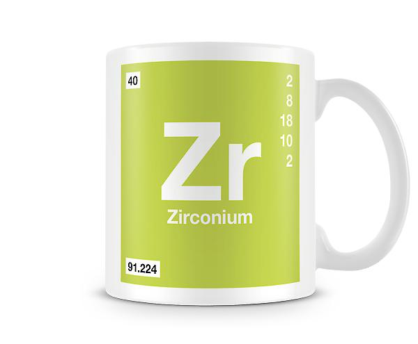Element Symbol 040 Zr - Zirconium Printed Mug
