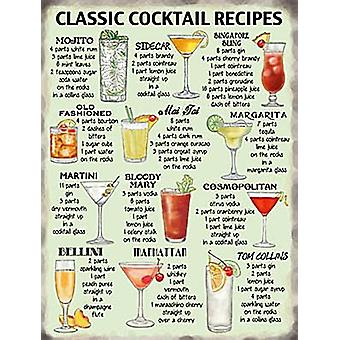 Classic Cocktail Recipes Metal Sign 200Mm X 150Mm