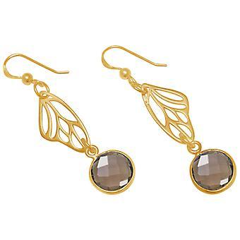 Gemshine - damas - Pendientes - plata 925 - oro - alas de mariposa - cuarzo ahumado - marrón - 4 cm