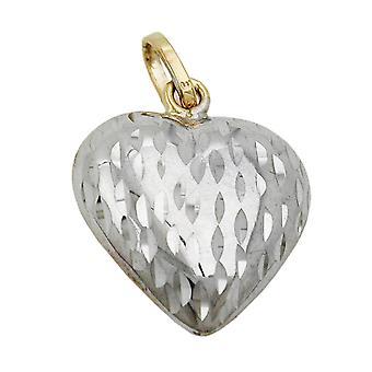 Herzanhänger gold 375 rhodiniert Anhänger, Herz diamantiert, 9 Kt GOLD