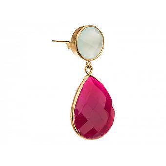 Few ladies - earrings - 925 silver plated - chalcedony - Rubin - sea green - red - 4 cm