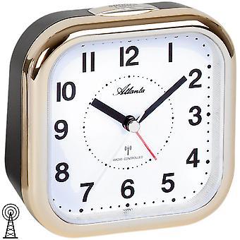Atlanta 1829/9 alarm clock radio alarm clock analog black golden with light Snooze
