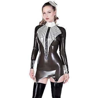 Hacia el oeste con destino sirviente Vestido de tirantes. Semi transparente negro con ribete blanco cálido.