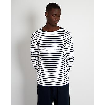 Armor Lux Mariniere Heritage Long Sleeeve T-Shirt White & Navy
