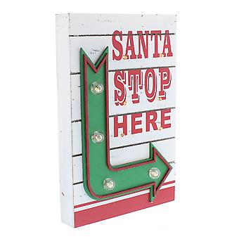Festive Productions 30cm Battery Operated Santa Stop Here Arrow Christmas Sign
