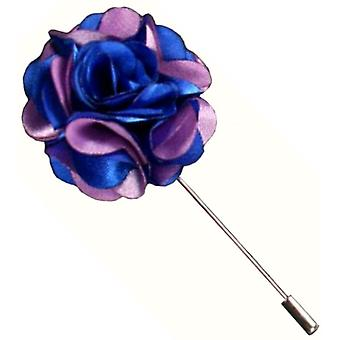 Bassin and Brown Floral Lapel Pin - Blue/Lilac