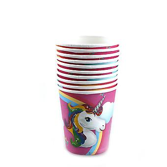 TRIXES Multicoloured 10PC Pack Unicorn Party Paper Cups For Kids Birthday Parties