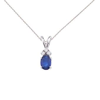 14K White Gold Sapphire Pendant with Diamonds and 18