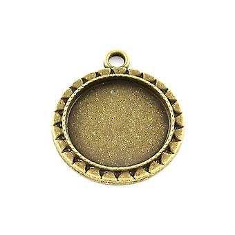 Packet 10 x Antique Bronze Tibetan Coin Cabochon Settings 20mm HA13095