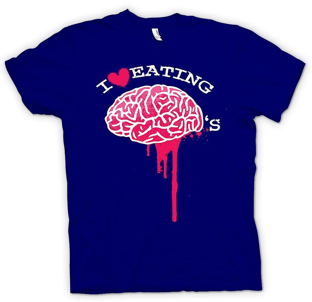 Mens t-skjorte - jeg elsker å spise hjernen - Zombie - Funny