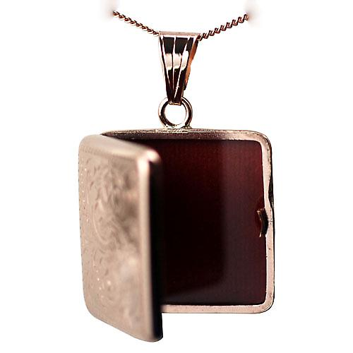 9ct Rose Gold 22mm flat square hand engraved Locket with a curb chain