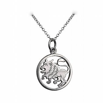 Silver 11mm pierced Leo Zodiac Pendant with a rolo Chain 24 inches