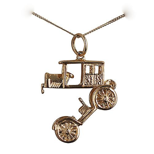 9ct Gold 11x22mm moveable Vintage car Pendant with a curb chain
