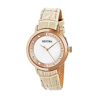 Bertha Cecelia Leather-Band Watch - Cream