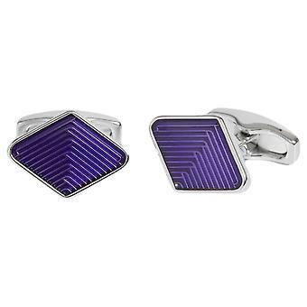 Simon Carter Diamond Guilloche Enamel Weave Cufflinks - Purple