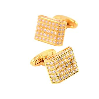 Beautiful Square Gold Cufflinks With Encrusted Stones Perfect Present Gift Husband Wedding
