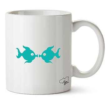 Hippowarehouse kyssar fisk tryckt mugg kopp keramik 10oz