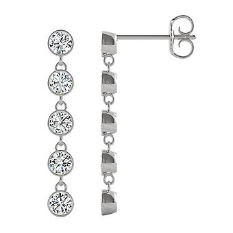 14K White Gold Moissanite by Charles & Colvard 3mm Round Drop Earrings, 1.00cttw DEW