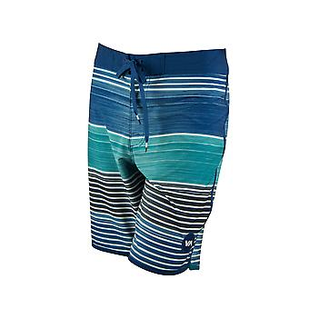 RVCA Mens VA Sport Sunday Stripe Trunk Boardshorts- Navy/Sea Green/Black