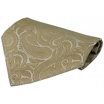 David Van Hagen Luxury Paisley Silk Handkerchief - Champagne Gold