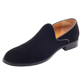 Avail London Mens Black Velvet Dress Shoes Slip-On