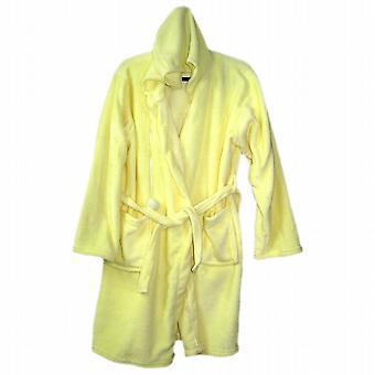 Ladies Super Soft Fleece Pom-Pom Bath Robe Hood Tie Waist Cord Lemon Yellow (41095132YW)
