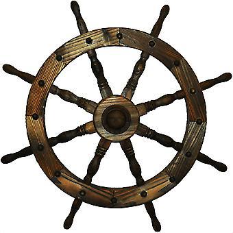 Tuin van schepen Wheel - binnen / buiten massief hout decoratie