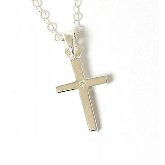 Jo For Girls Genuine Diamond Sterling Silver Cross Pendant