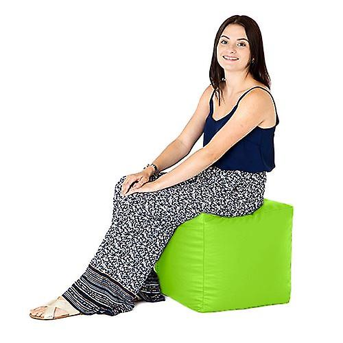 Lime Faux Leather Bean Bag Cube Footstool Pouffe Seat