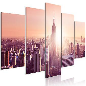 Canvas Print - Sun over Manhattan (5 Parts) Wide Orange