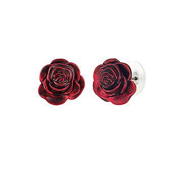 Ewige Sammlung rot rot Rose Emaille Silber Ton Blume Ohrstecker durchbohrt Ohrringe